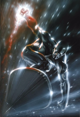The Silver Surfer wielding the Power Cosmic